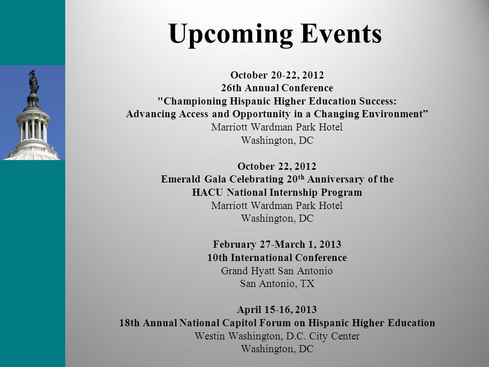 Upcoming Events October 20-22, 2012 26th Annual Conference