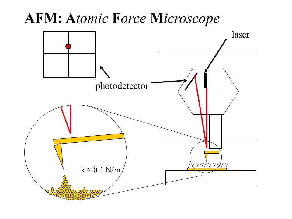 Atomic force microscope, deflected photodetector laser k 0.1 N/m AFM: Atomic Force Microscope
