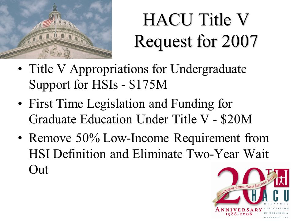 HACU Title V Request for 2007 Title V Appropriations for Undergraduate Support for HSIs - $175M First Time Legislation and Funding for Graduate Educat