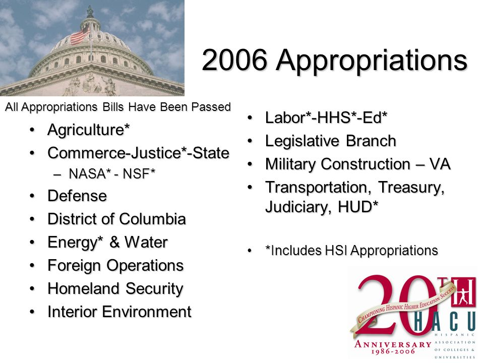 HACU Appropriations Request for 2007 HUD - $12M for HUD HSI Assisting Communities Program; $5M to reinstate HUD HSI Work-Study Program DHHS - $20M for HSIs for the National Institutes of Health