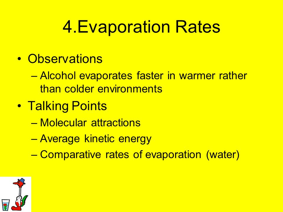 4.Evaporation Rates Observations –Alcohol evaporates faster in warmer rather than colder environments Talking Points –Molecular attractions –Average k
