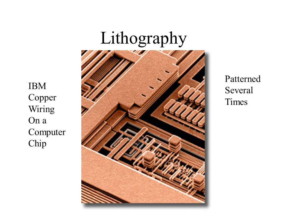 Lithography IBM Copper Wiring On a Computer Chip Patterned Several Times