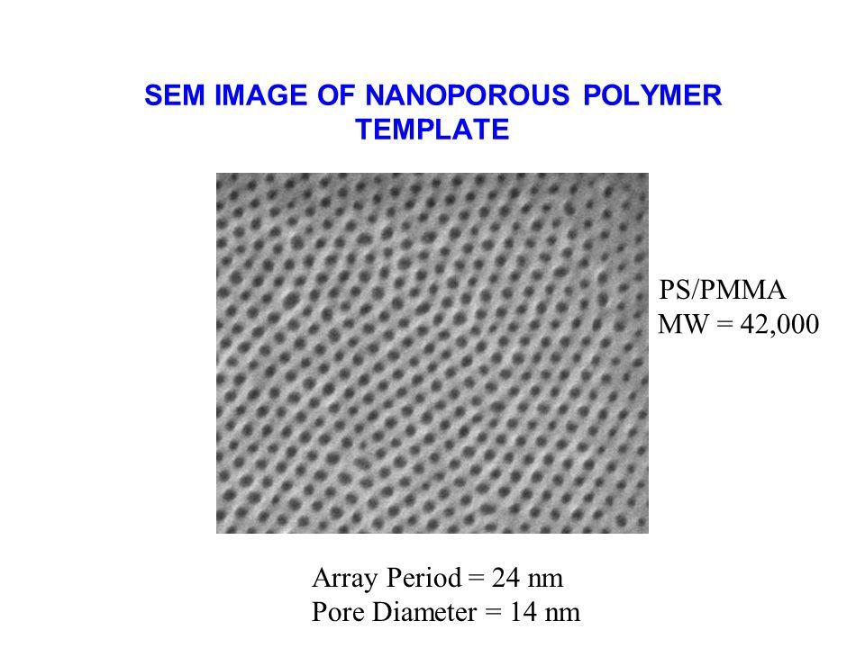 SEM IMAGE OF NANOPOROUS POLYMER TEMPLATE Array Period = 24 nm Pore Diameter = 14 nm MW = 42,000 PS/PMMA
