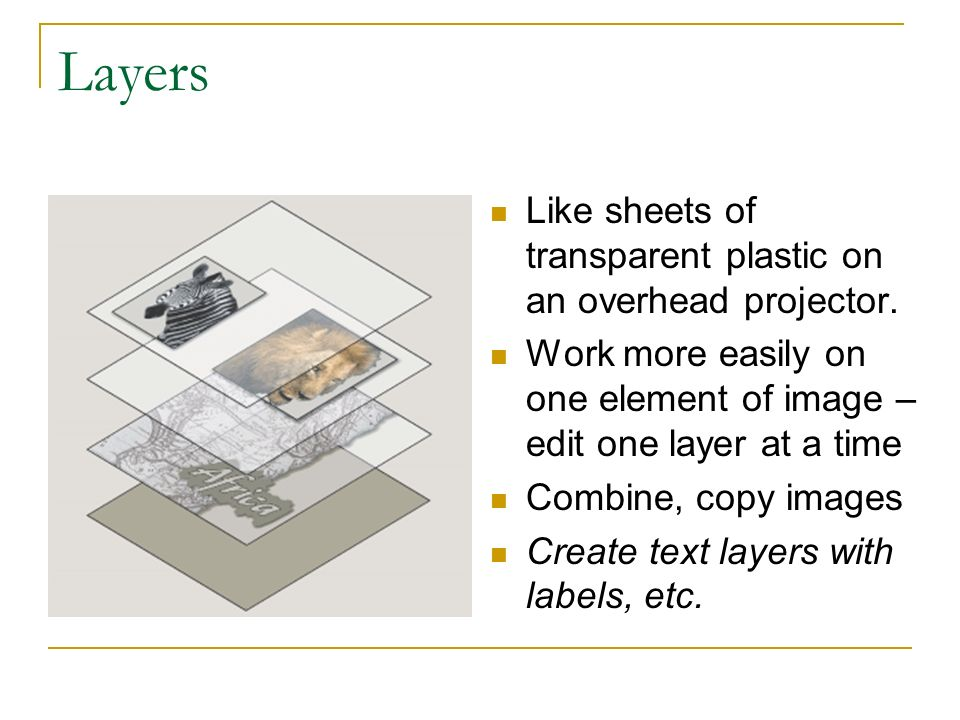 Layers Like sheets of transparent plastic on an overhead projector.