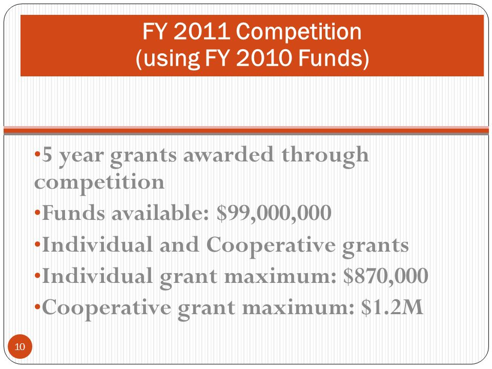 FY 2011 Competition (using FY 2010 funds) 5 year grants awarded through competition Funds available: $99,000,000 Individual and Cooperative grants Ind