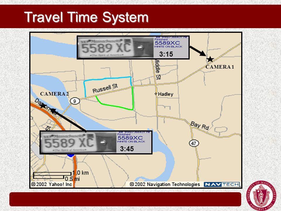Travel Time System CAMERA 1 CAMERA 2 3:15 3:45
