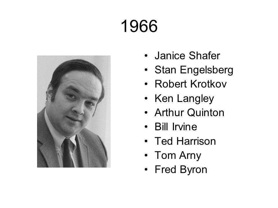 1966 Janice Shafer Stan Engelsberg Robert Krotkov Ken Langley Arthur Quinton Bill Irvine Ted Harrison Tom Arny Fred Byron