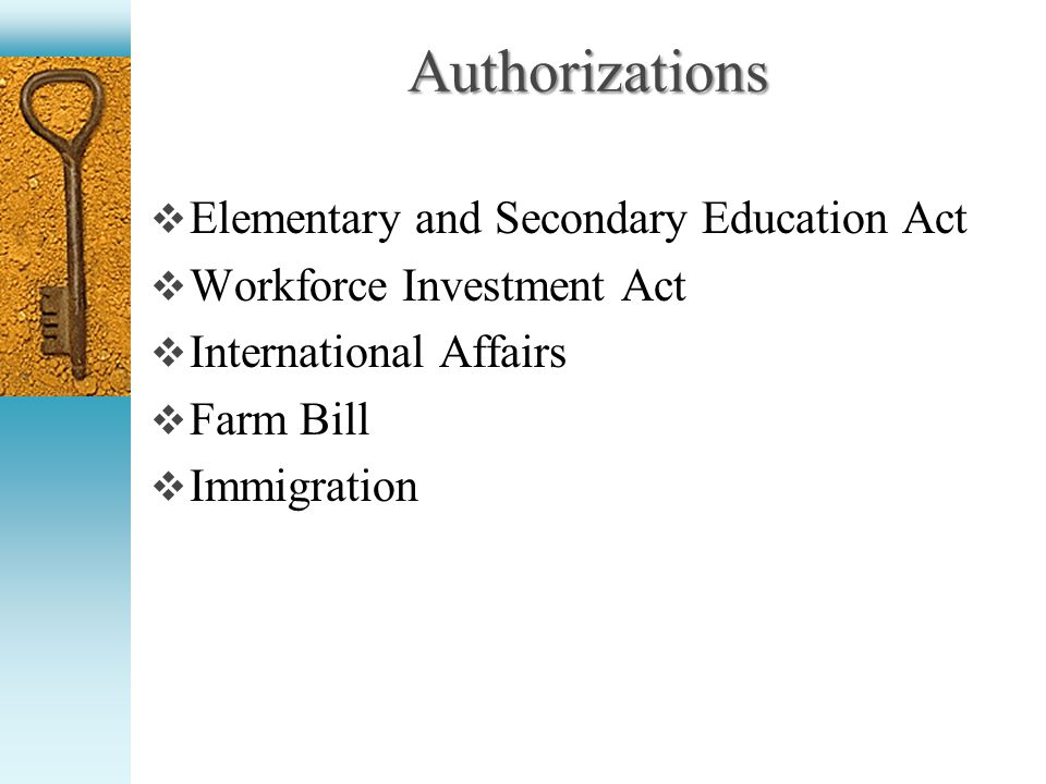 Authorizations Elementary and Secondary Education Act Workforce Investment Act International Affairs Farm Bill Immigration