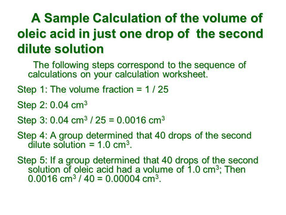 A Sample Calculation of the volume of oleic acid in just one drop of the second dilute solution A Sample Calculation of the volume of oleic acid in ju