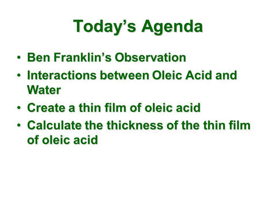 Todays Agenda Ben Franklins ObservationBen Franklins Observation Interactions between Oleic Acid and WaterInteractions between Oleic Acid and Water Cr