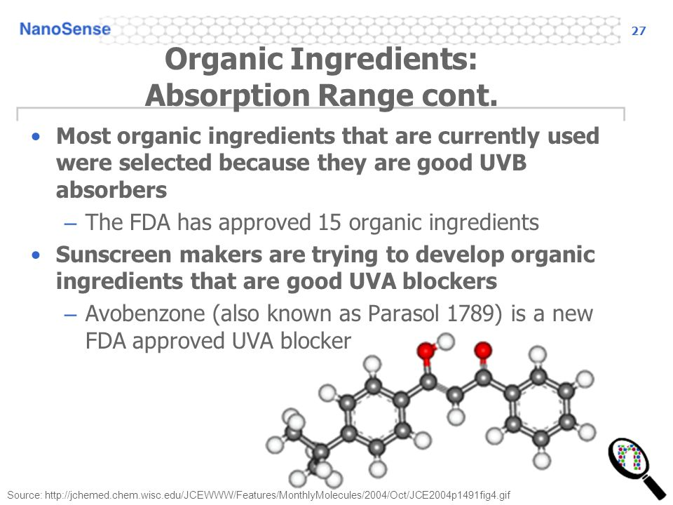 27 Organic Ingredients: Absorption Range cont.