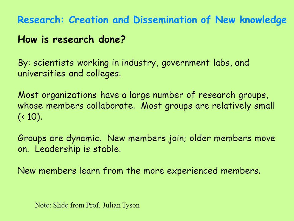 Research: Creation and Dissemination of New knowledge New members need training: Background to problem (big picture, what is already known), How to find out (library) Techniques to be used, Hypothesis to be tested, Plan of action (experimental design) Communication skills (written and oral) Note: Slide from Prof.