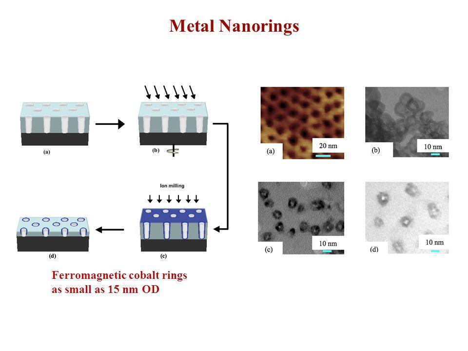 Metal Nanorings Ferromagnetic cobalt rings as small as 15 nm OD