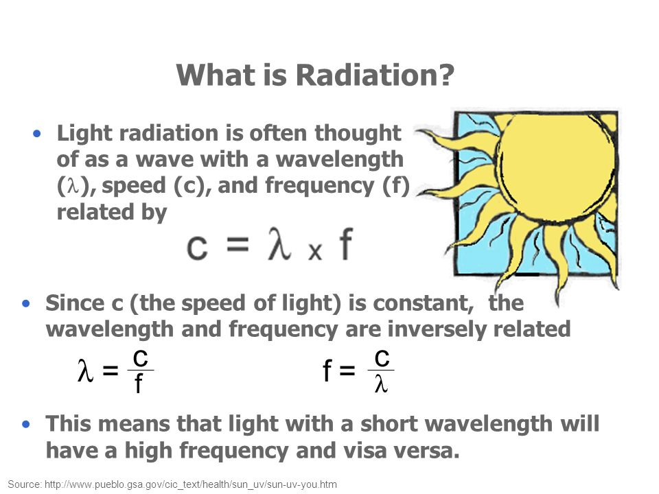 What is Radiation? Light radiation is often thought of as a wave with a wavelength ( ), speed (c), and frequency (f) related by Source: http://www.pue