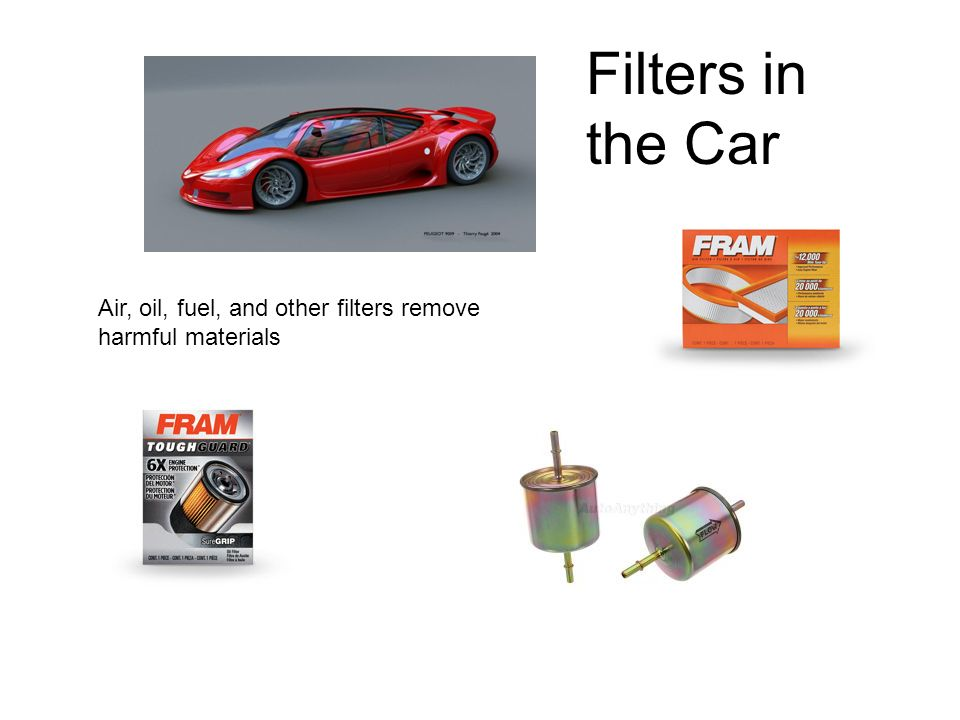 Air, oil, fuel, and other filters remove harmful materials Filters in the Car