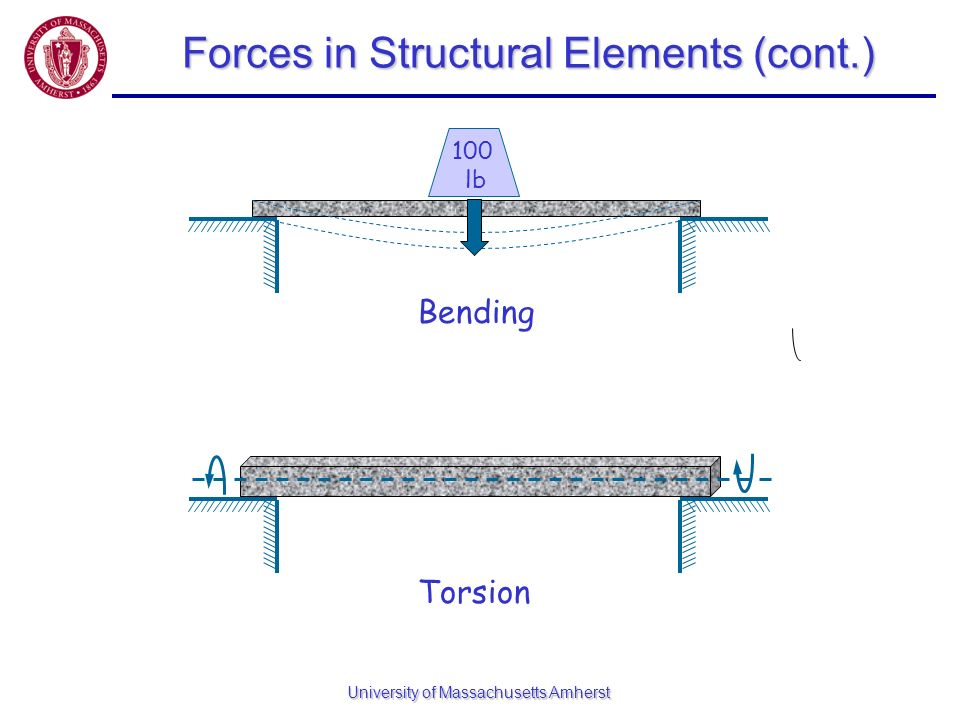 University of Massachusetts Amherst Forces in Structural Elements (cont.) 100 lb Bending Torsion