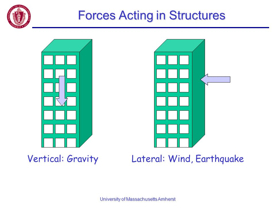 University of Massachusetts Amherst Forces Acting in Structures Vertical: GravityLateral: Wind, Earthquake