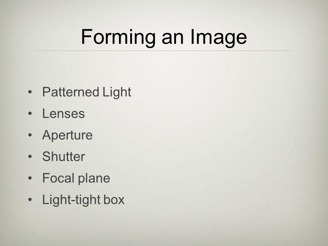 Forming an Image Patterned Light Lenses Aperture Shutter Focal plane Light-tight box
