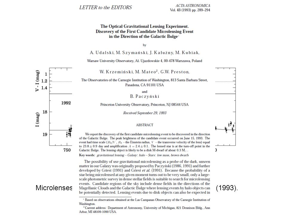 OGLE-I #1 Microlenses: Discovery of the first events toward the GB (1993).