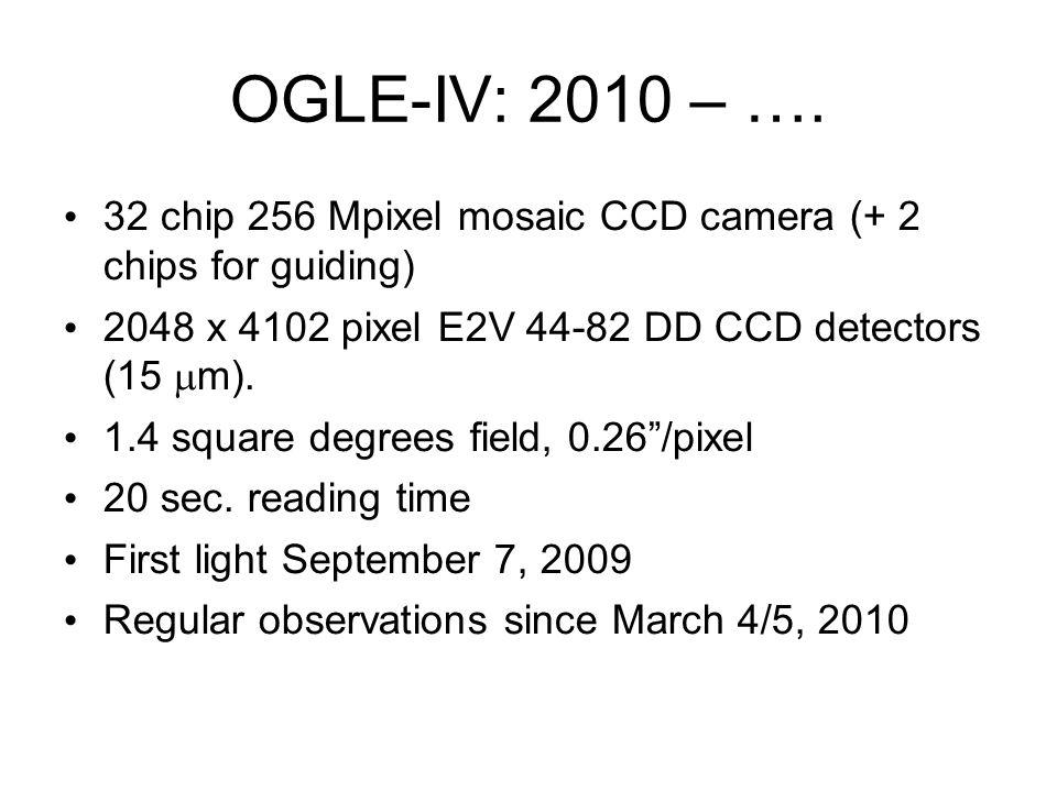 OGLE-IV: 2010 – …. 32 chip 256 Mpixel mosaic CCD camera (+ 2 chips for guiding) 2048 x 4102 pixel E2V 44-82 DD CCD detectors (15 m). 1.4 square degree