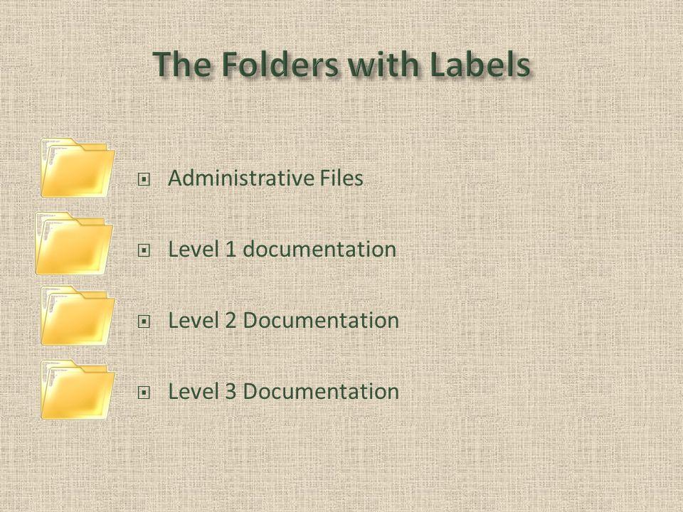 Administrative Files Level 1 documentation Level 2 Documentation Level 3 Documentation