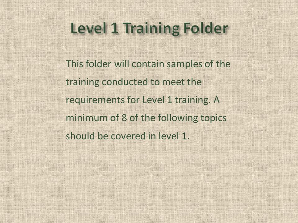 This folder will contain samples of the training conducted to meet the requirements for Level 1 training.