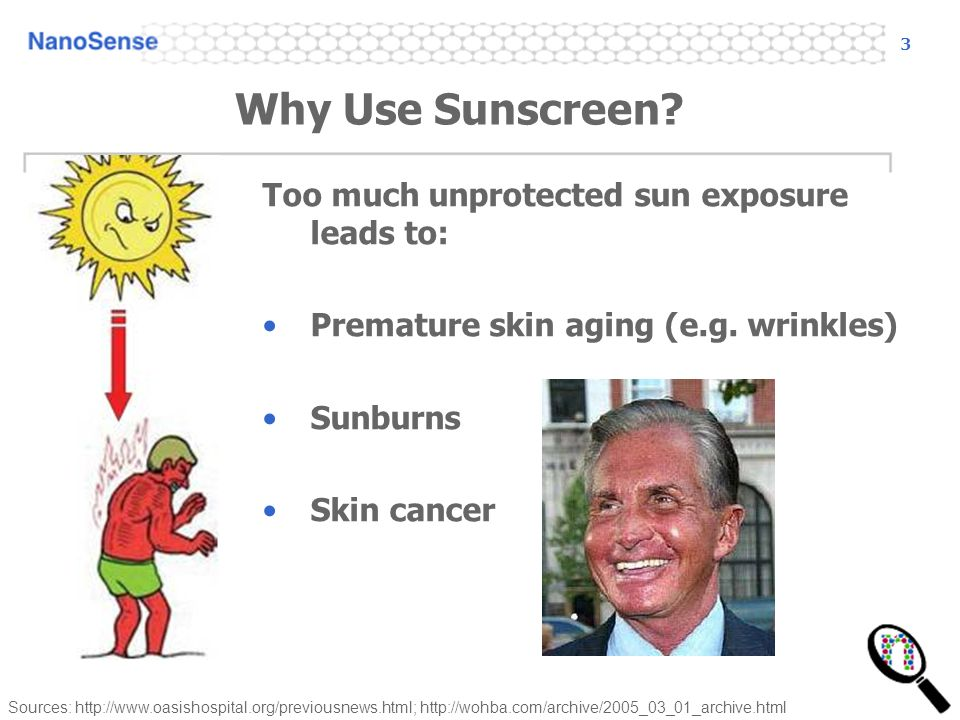 3 Why Use Sunscreen. Too much unprotected sun exposure leads to: Premature skin aging (e.g.