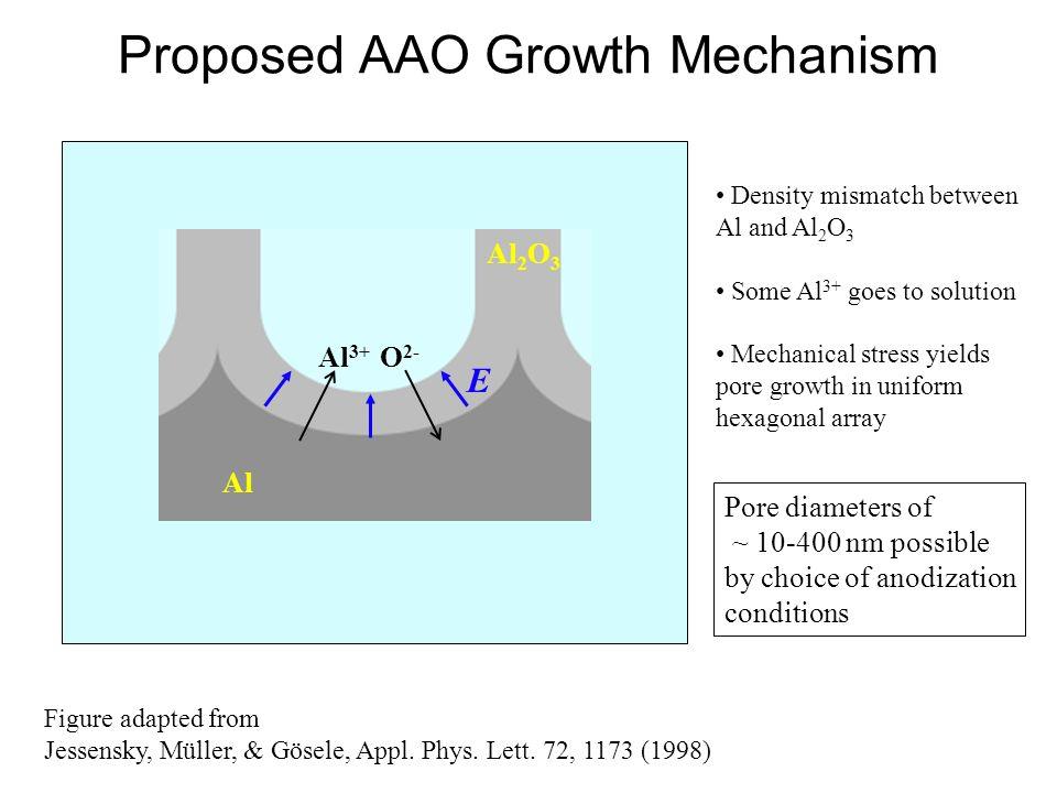 Proposed AAO Growth Mechanism Figure adapted from Jessensky, Müller, & Gösele, Appl. Phys. Lett. 72, 1173 (1998) Al 2 O 3 E Al Al 3+ O 2- Density mism