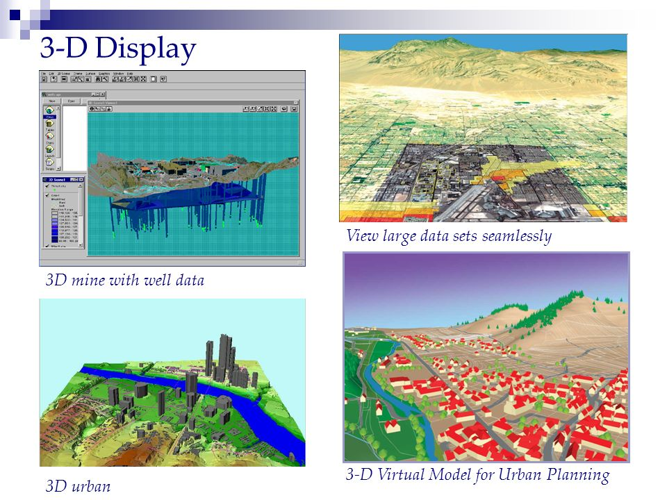 3-D Display View large data sets seamlessly 3-D Virtual Model for Urban Planning 3D mine with well data 3D urban