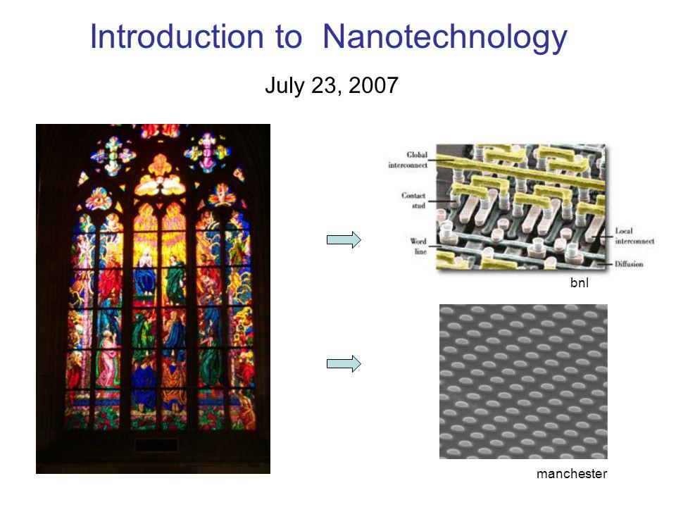 Introduction to Nanotechnology July 23, 2007 bnl manchester