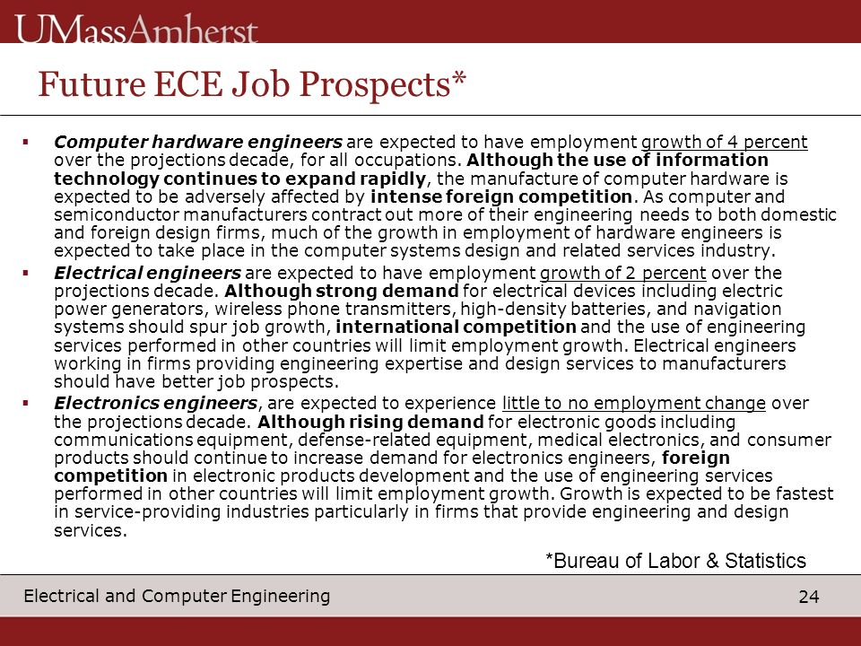 24 Electrical and Computer Engineering Future ECE Job Prospects* Computer hardware engineers are expected to have employment growth of 4 percent over the projections decade, for all occupations.