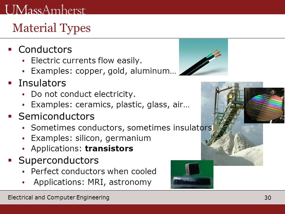 30 Electrical and Computer Engineering Material Types Conductors Electric currents flow easily.
