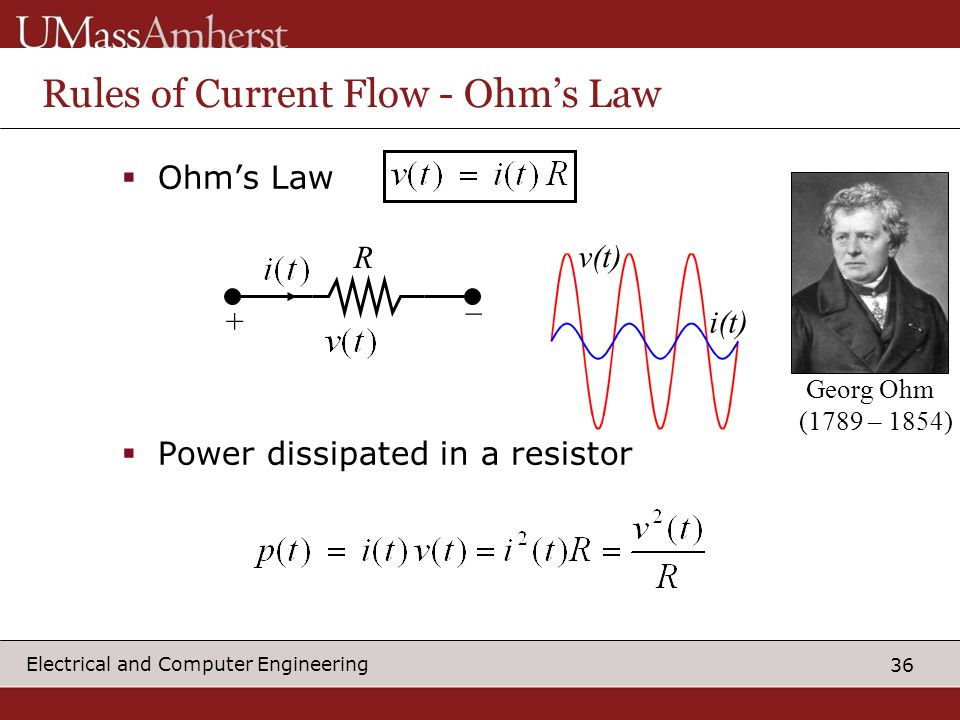36 Electrical and Computer Engineering Rules of Current Flow - Ohms Law Ohms Law Power dissipated in a resistor R + _ v(t) i(t) Georg Ohm (1789 – 1854)
