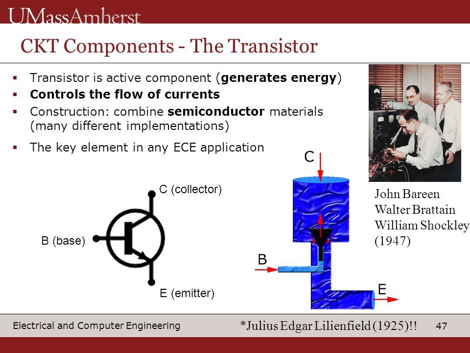 47 Electrical and Computer Engineering CKT Components - The Transistor Transistor is active component (generates energy) Controls the flow of currents Construction: combine semiconductor materials (many different implementations) The key element in any ECE application B (base) C (collector) E (emitter) John Bareen Walter Brattain William Shockley (1947) *Julius Edgar Lilienfield (1925)!!