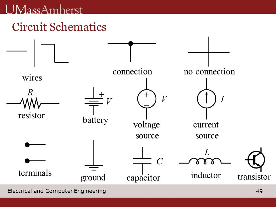 49 Electrical and Computer Engineering Circuit Schematics connectionno connection R resistor + battery + _ voltage source current source terminals capacitor V VI C inductor L ground transistor wires