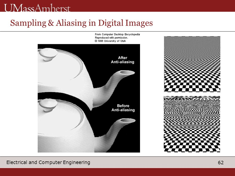 62 Electrical and Computer Engineering Sampling & Aliasing in Digital Images