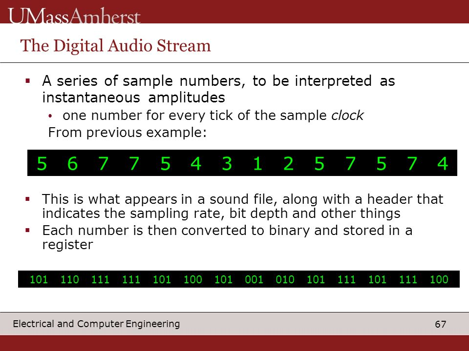 67 Electrical and Computer Engineering The Digital Audio Stream This is what appears in a sound file, along with a header that indicates the sampling rate, bit depth and other things Each number is then converted to binary and stored in a register 5 6 7 7 5 4 3 1 2 5 7 5 7 4 101 110 111 111 101 100 101 001 010 101 111 101 111 100 A series of sample numbers, to be interpreted as instantaneous amplitudes one number for every tick of the sample clock From previous example: