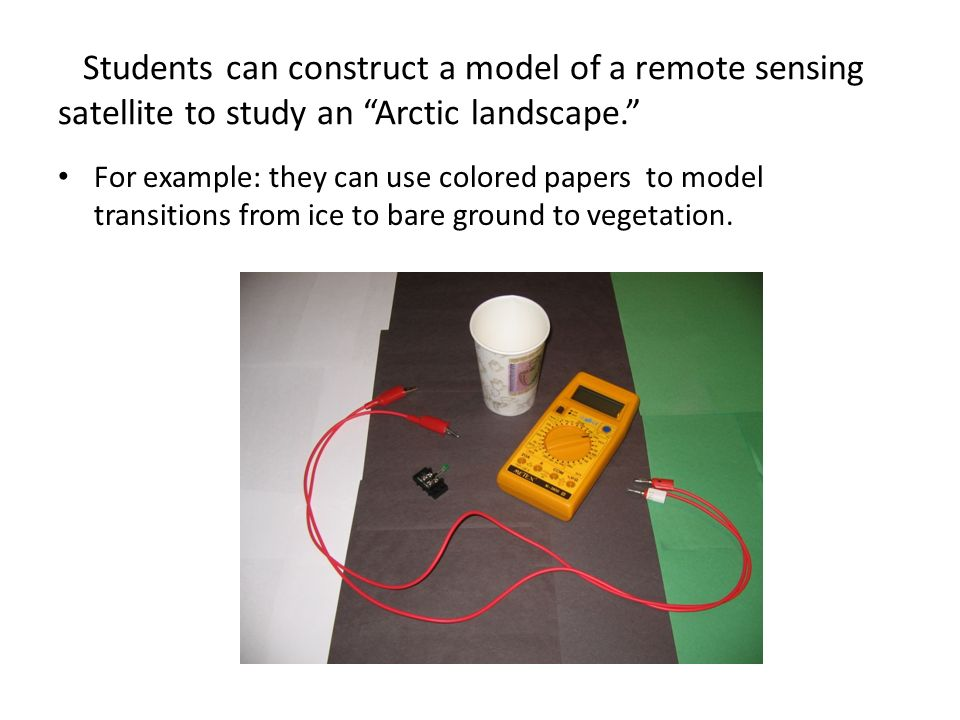 Students can construct a model of a remote sensing satellite to study an Arctic landscape.
