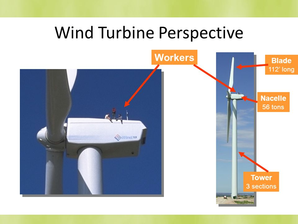 Wind Turbine Perspective Nacelle 56 tons Tower 3 sections Workers Blade 112 long