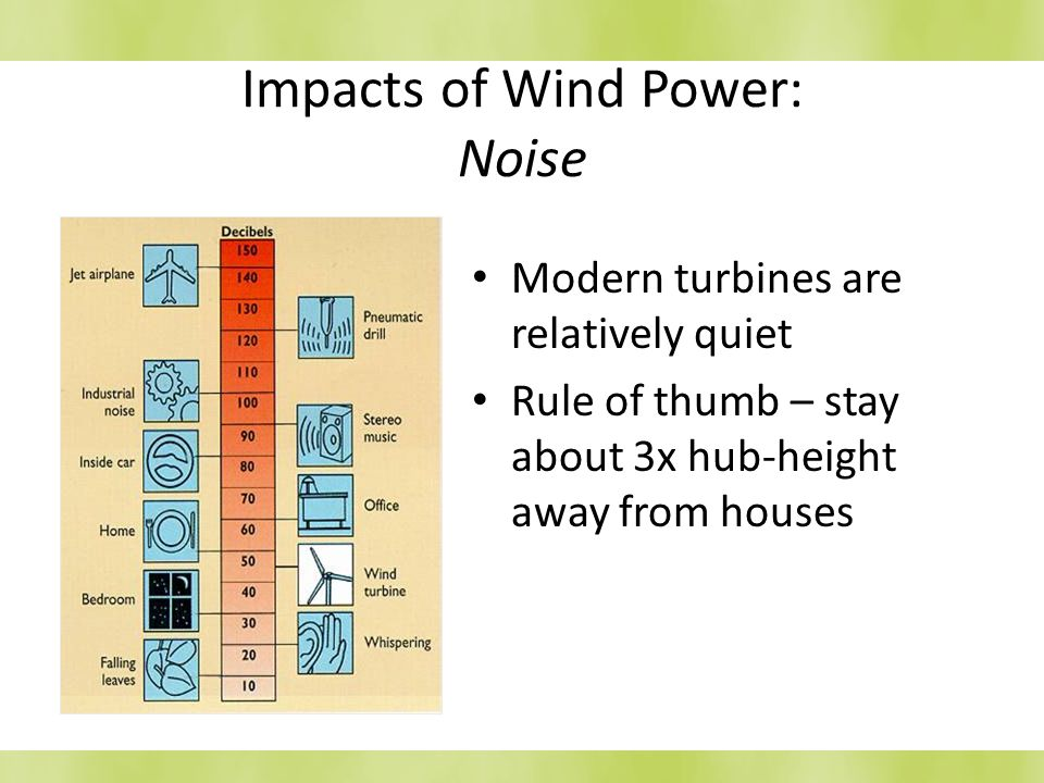 Impacts of Wind Power: Noise Modern turbines are relatively quiet Rule of thumb – stay about 3x hub-height away from houses