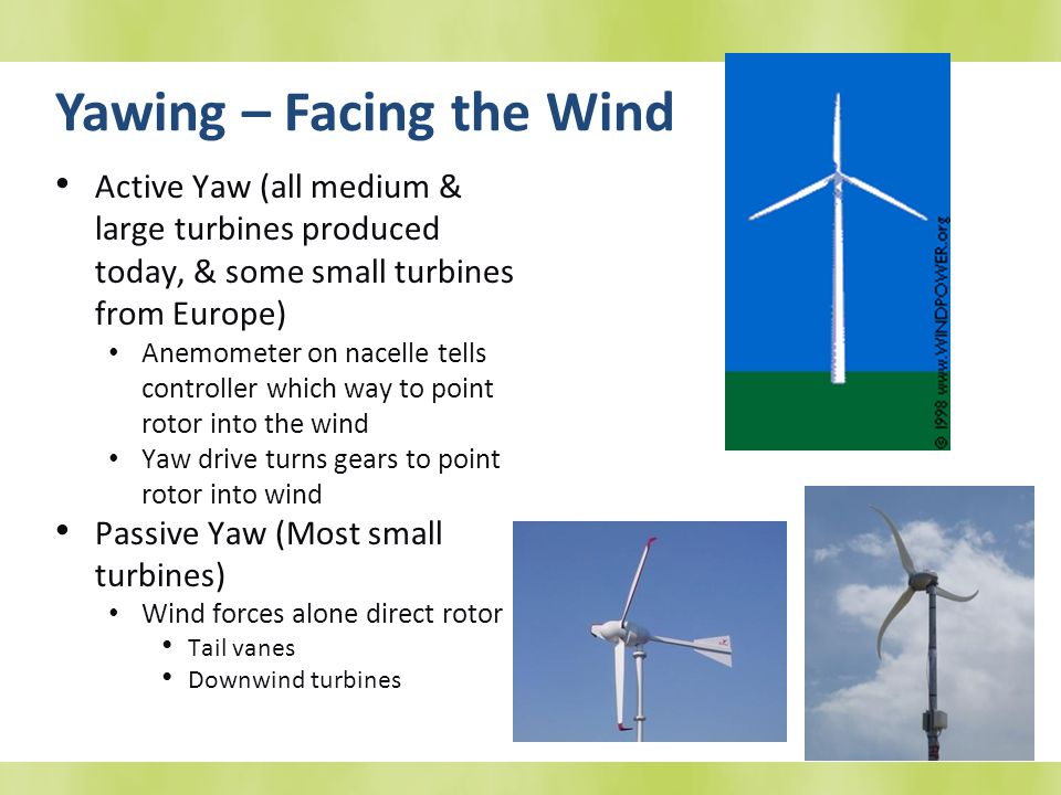 Yawing – Facing the Wind Active Yaw (all medium & large turbines produced today, & some small turbines from Europe) Anemometer on nacelle tells contro