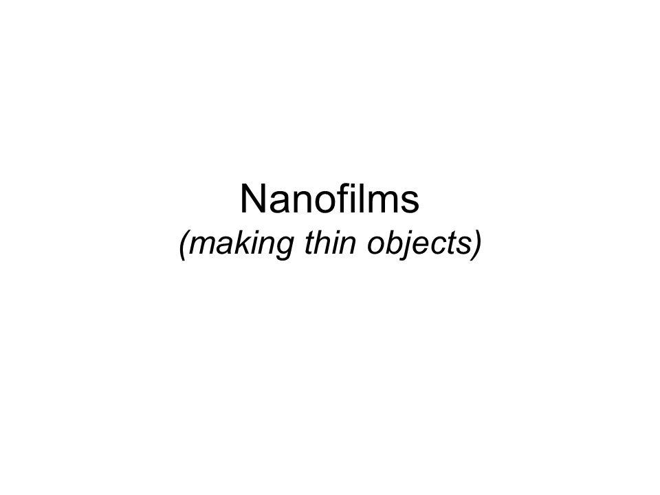 Nanostructures macroscale (3D) object width depth height nanofilm, or nanolayer (2D) nanowire, nanorod, or nanocylinder (1D) nanoparticle, nanodot, qu