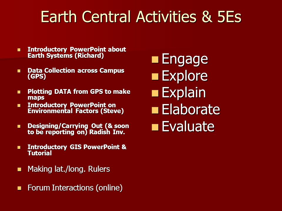 Earth Central Activities & 5Es Introductory PowerPoint about Earth Systems (Richard) Introductory PowerPoint about Earth Systems (Richard) Data Collec