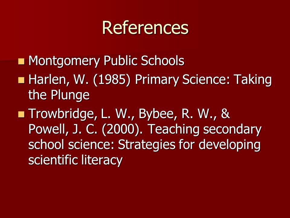 References Montgomery Public Schools Montgomery Public Schools Harlen, W. (1985) Primary Science: Taking the Plunge Harlen, W. (1985) Primary Science: