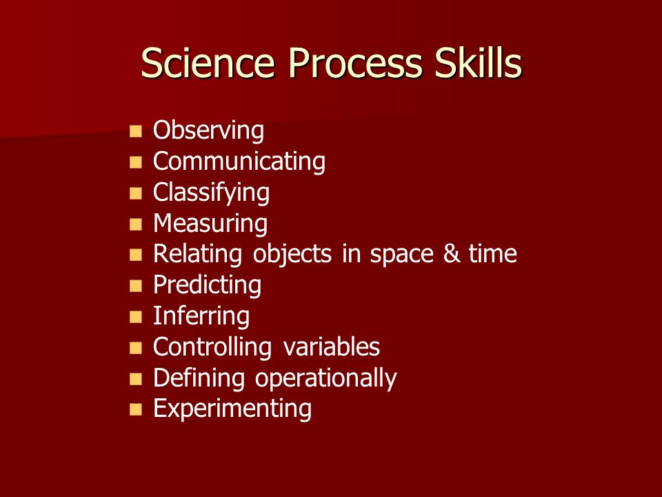 Science Process Skills Observing Communicating Classifying Measuring Relating objects in space & time Predicting Inferring Controlling variables Defin