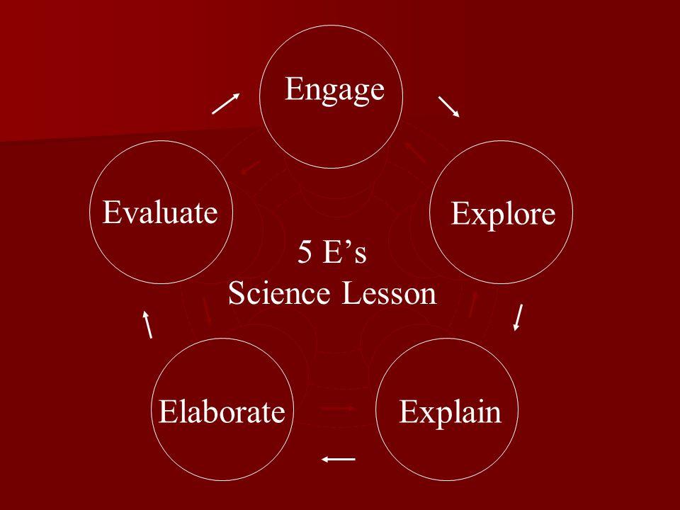 Engage Explore ExplainElaborate Evaluate 5 Es Science Lesson