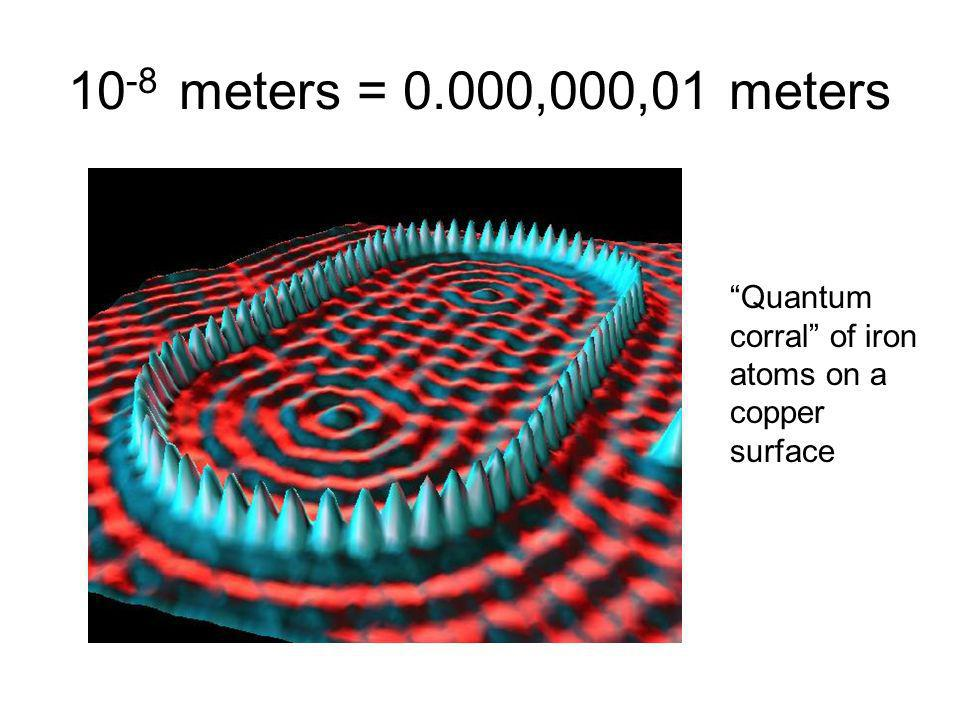10 -8 meters = 0.000,000,01 meters Quantum corral of iron atoms on a copper surface