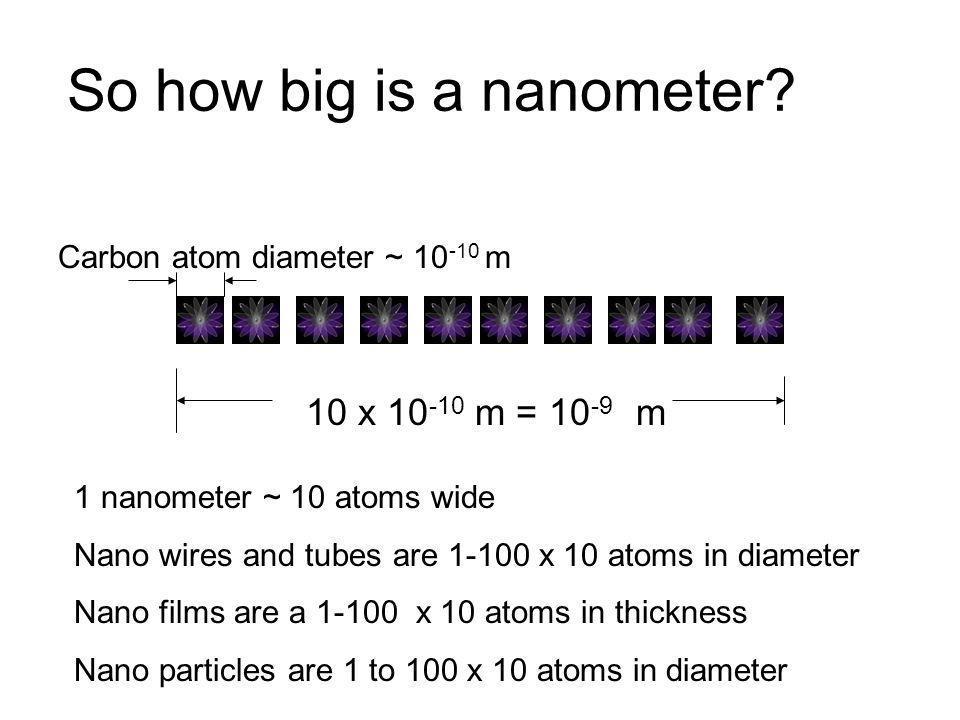So how big is a nanometer? Carbon atom diameter ~ 10 -10 m 10 x 10 -10 m = 10 -9 m 1 nanometer ~ 10 atoms wide Nano wires and tubes are 1-100 x 10 ato