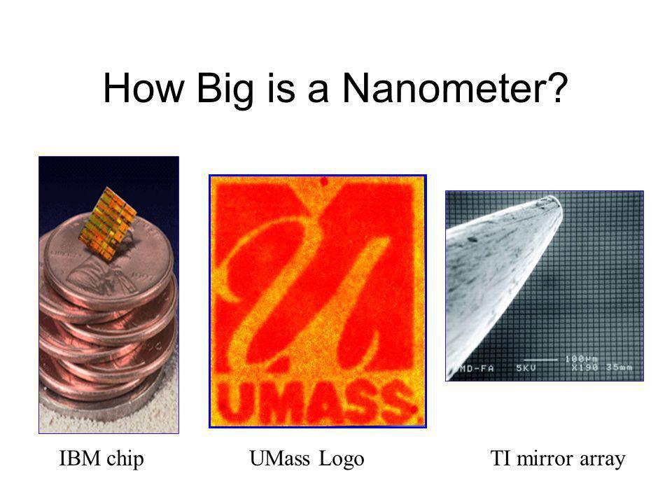 How Big is a Nanometer? IBM chipUMass LogoTI mirror array
