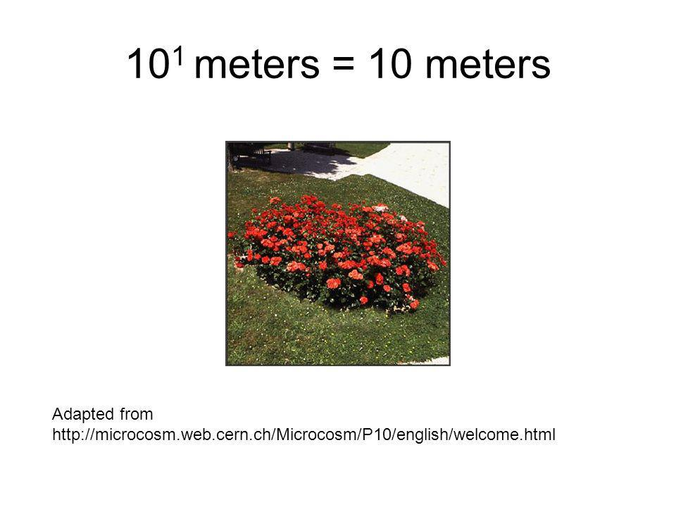 10 1 meters = 10 meters Adapted from http://microcosm.web.cern.ch/Microcosm/P10/english/welcome.html